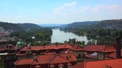 Vltava River & Podoli district of Prague from Vysehrad. Stock Footage