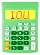 Calculator with I.O.U. on display isolated Stock Photos