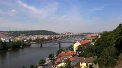 Vltava River bridges from Vysehrad. Stock Footage