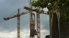 Tower cranes in Berlin Stock Footage