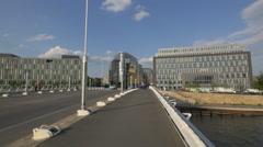 Walking on the Crown Prince Bridge in Berlin Stock Footage