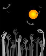 The zombies hands - stock illustration