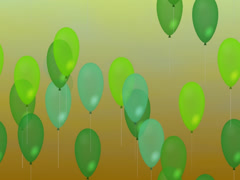 Green air party balloons on gradient green-orange background - stock footage