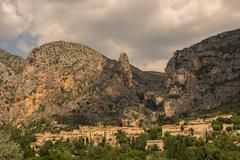 Moustierres Sainte Marie village and monastery in Verdon Gorge Stock Photos