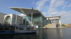 Boat near the Marie-Elisabeth-Luders-Haus building in Berlin Stock Footage