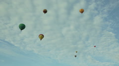 Hot air balloons in the blue sky aerostats Stock Footage