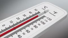 Temperature on the thermometer rises. Stock Footage
