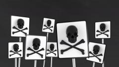 White and black danger signs appear and disappear. - stock footage