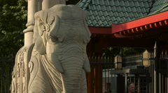 Elephant statue at the Berlin Zoological Garden Stock Footage