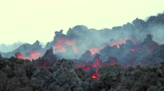 Volcano eruption with lava AA flowing - stock footage