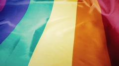rainbow flag of the gay community - stock footage