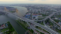 Panorama suspension bridge in Bangkok city Stock Footage