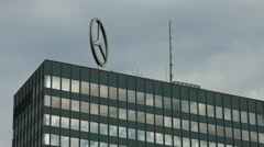 Mercedes logo on top of Europa Center, in Berlin Stock Footage
