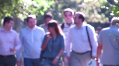 Office workers are in the park - stock footage