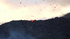 Stock Video Footage of Etna volcano eruption, lava spattering
