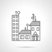 Apartments rent line vector icon - stock illustration