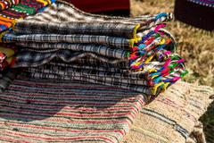 Picture of Bulgarian hand-made rag-carpets, different colors, detail - stock photo