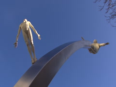 Discovery sculpture with blue sky Stock Footage