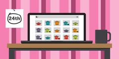 Searching for an Apartment online Using a laptop Stock Illustration