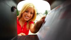 Woman Opens Mailbox To Take Out Letters Stock Footage