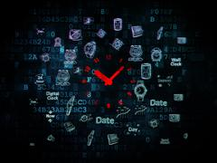 Time concept: Clock on Digital background - stock illustration