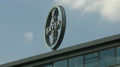 The Bayer Healthcare Pharmaceuticals' logo in Berlin - stock footage