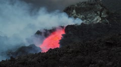 Details lava flowing inside a lava channel Stock Footage
