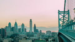 Timelapse Philadelphia Sunset from Ben Franklin Bridge Stock Footage
