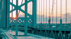 Sunset Close Up on the Ben Franklin Bridge in Philadelphia - stock footage