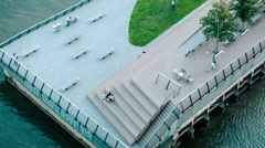 Birds Eye Angle of Urban Waterfront Park Stock Footage