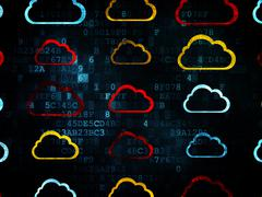 Cloud computing concept: Cloud icons on Digital background Piirros