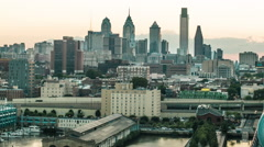 Philadelphia Skyline at Dusk from Ben Franklin Bridge - stock footage