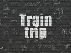 Stock Illustration of Tourism concept: Train Trip on wall background