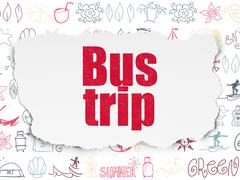 Travel concept: Bus Trip on Torn Paper background Stock Illustration