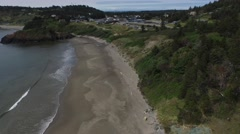 Flying over battle rock beach in port orford oregon Stock Footage