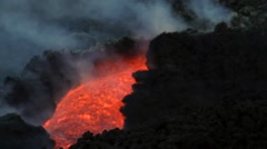 Volcano Etna eruption with lava flow - stock footage