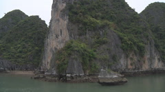 Village on the water Hạ Long Bay, North Vietnam Stock Footage