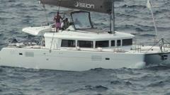 Catamaran ship crossing the sea Stock Footage