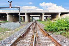 The railway used for transportation made from steel Survive under the bridge - stock photo
