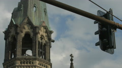 View of Kaiser Wilhelm Memorial Church's roof in Berlin Stock Footage