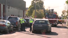 Police Tape at Electrocution Stock Footage