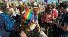 Revellers at Gay pride parade in Stockholm Stock Footage
