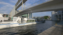 Sanssouci boat floating on Spree River in Berlin Stock Footage