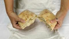 Stock Video Footage of pastor breaking bread for Holy Communion close-up POV
