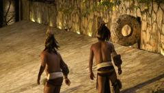 Reconstruction of the ancient Mayan ball game at the stadium - stock footage