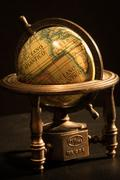 Miniature Globe Macro Close Up Earth - stock photo