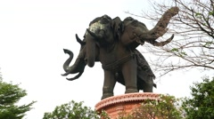 Erwan Museum, giant elephant with three heads sculpture view Stock Footage