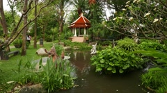 Fine pond and pagoda pavilion at Himmapan garden, beautiful gardening Stock Footage