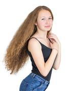 girl with magnificent hair - stock photo