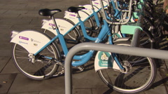 Rack of hire bikes Stock Footage
